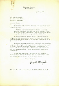 Orville Wright letters for sale from K W Rendell Gallery